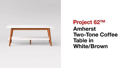 1f3d23e2956 Amherst Mid Century Modern Two-Tone Coffee Table -White Brown - Project 62™    Target