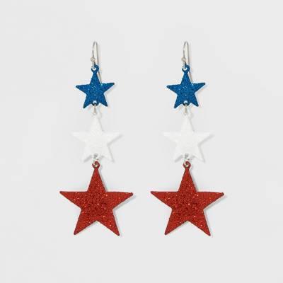 Triple Drop Star Linear Earrings