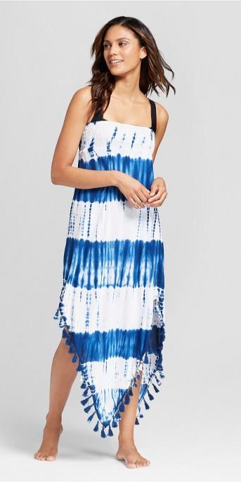 Mango Reef Women's Tube Tassel Trim Midi Cover Up Dress