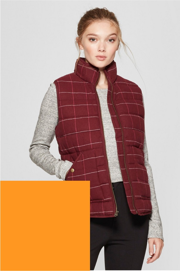 Women's Plaid Puffer Vest - A New Day™ Burgundy