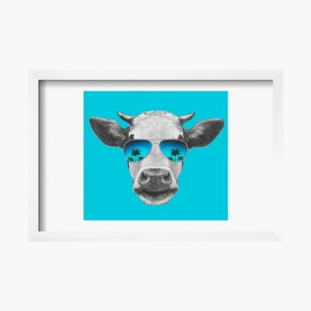 Portrait of Cow with Mirror Sunglasses. Hand Drawn Illustration. by Victoria_Novak Framed Poster 19