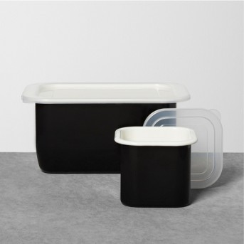 Enamel Rectangle and Square Food Storage Set with Lid - Black - Hearth & Hand™ with Magnolia
