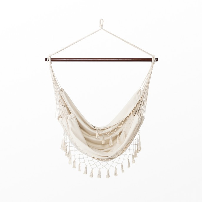 Flat Weave Macrame Fringe Hammock Chair with Spreader Bar Natural - Opalhouse™
