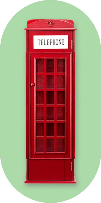 Abbey Phone Booth Storage Cabinet - Burgundy Red - Aiden Lane