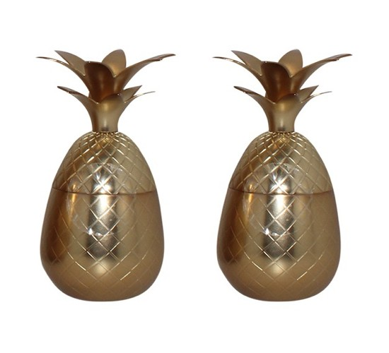 Silver One Pineapple Shot Glasses 4oz - Gold - Set of 2