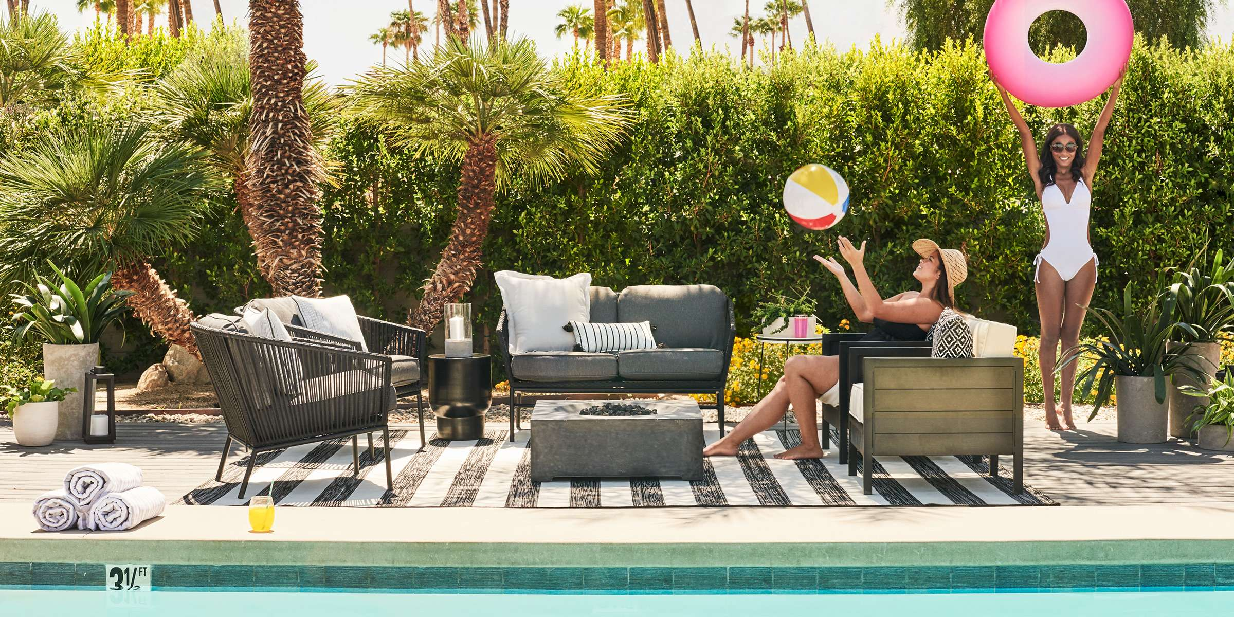 create a modern vibe with this monochromatic color palette in a mix ofgraphic patterns add large stone planters with greenery and a few outdoorpillows to . folding chairs  modern outdoor living  target