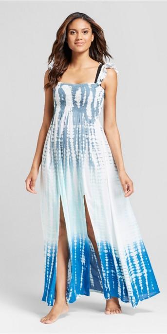 Mango Reef Women's Ruffle Tie Dye Maxi Cover Up Dress