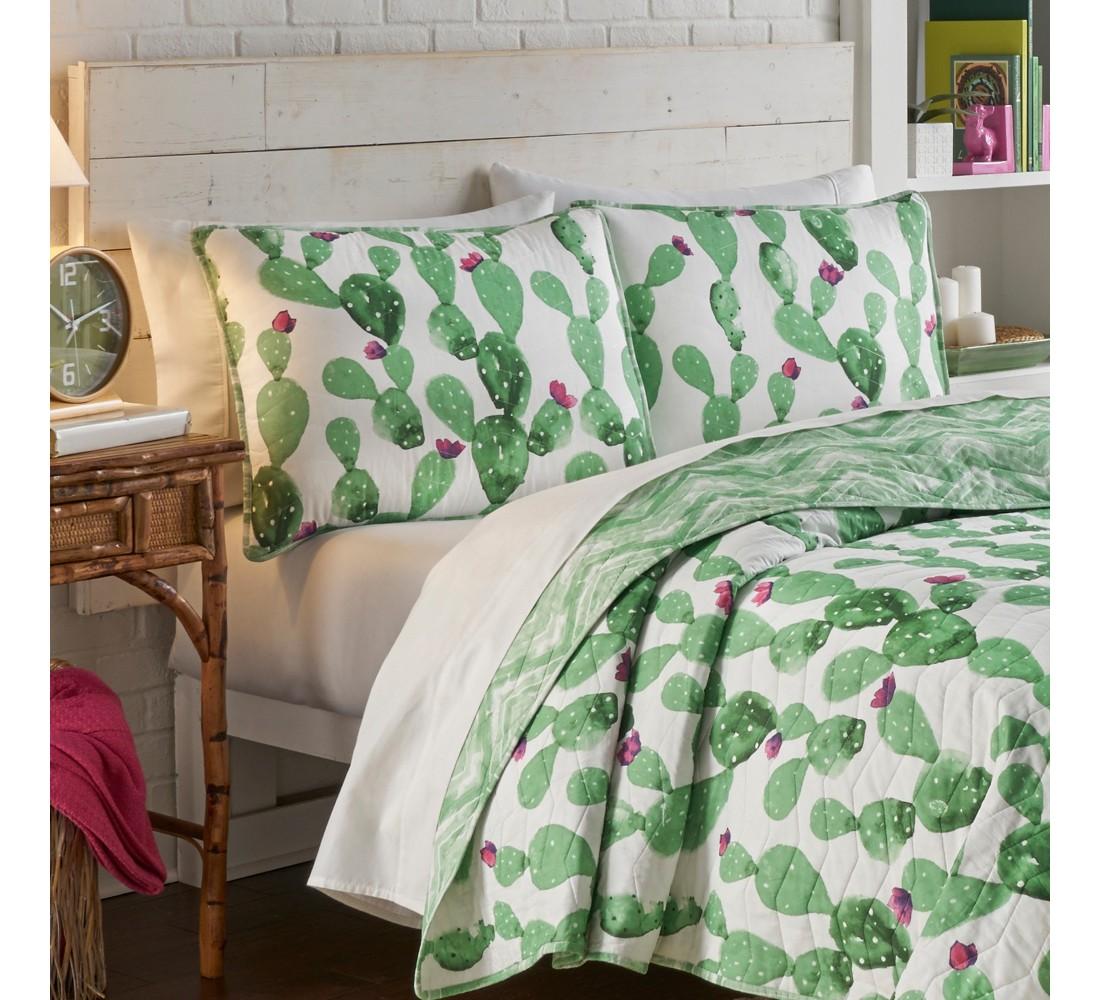 Cactus Otto Quilt Set Green - Vue