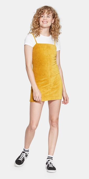 Women's Strappy Knit Corduroy Dress - Wild Fable™ Yellow