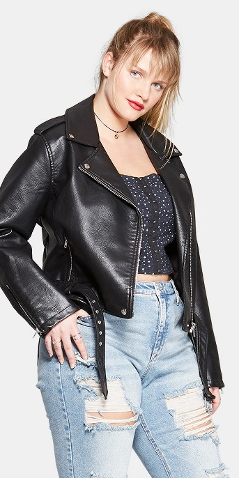 Women's Plus Size Faux Leather Moto Jacket - Wild Fable™
