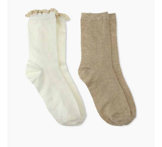 Charlotte Women's 2pk Crew Sock - Cable - Ivory Combo One Size