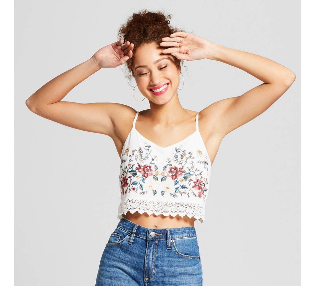 Women's Floral Print Sleeveless Embroidered Crop Top - Xhilaration™ Off White