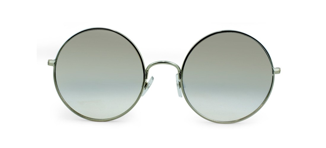 Women's Oversized Round Sunglasses with Blue Gradient Lenses - Silver