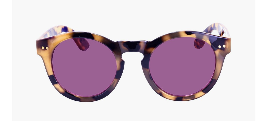 Women's Round Sunglasses with Solid Purple Lens - Brown