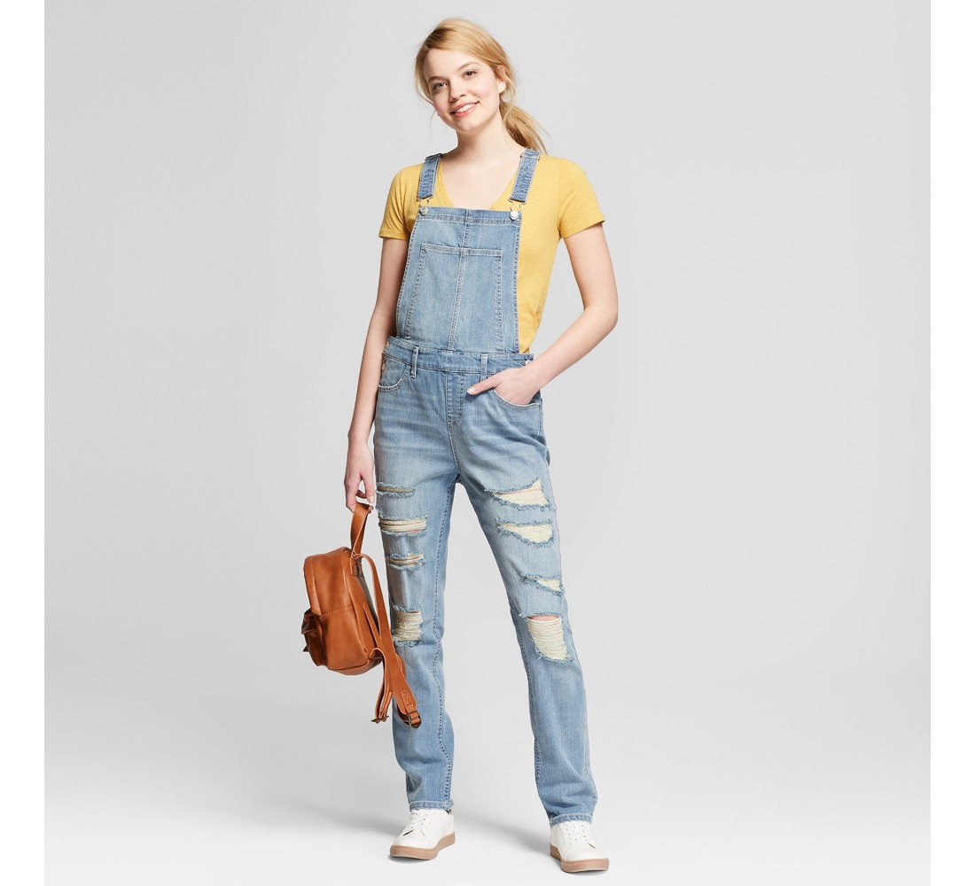 Women's Destructed Skinny Jean Overalls - Mossimo Supply Co.™ Light Wash