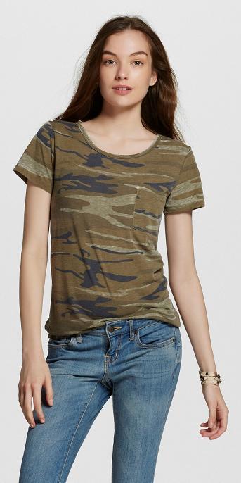 Women's Short Sleeve Camo Print Graphic T-Shirt - Zoe+Liv