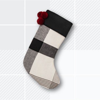 Holiday Stocking - Plaid - White / Black - Hearth & Hand™ with Magnolia