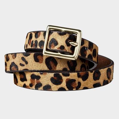Women's Leopard Print Calf Hair Belt - Brown & Tan - A New Day™