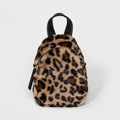 Faux Fur Leopard Print Mini Backpack - Wild Fable™ Brown