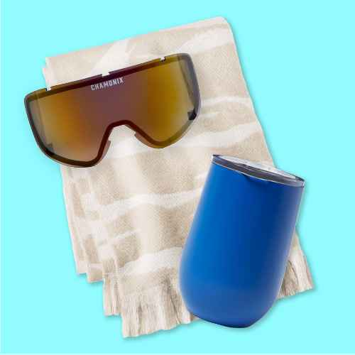 Chamonix Massif Goggle Lens, 11oz Stainless Steel Vacuum Wine Tumbler with SAN Slide Lid Solid Matte Blue Dolphin - Room Essentials™, Women's Zebra Print Blanket Scarf - A New Day™ Beige