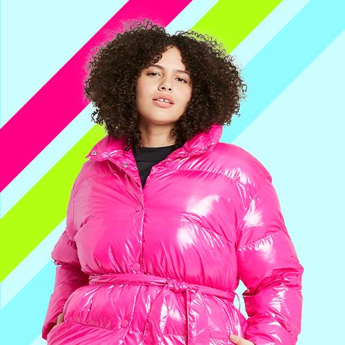 Women's Plus Size Tie-Waist Puffer Jacket  - Who What Wear™ Pink 1X