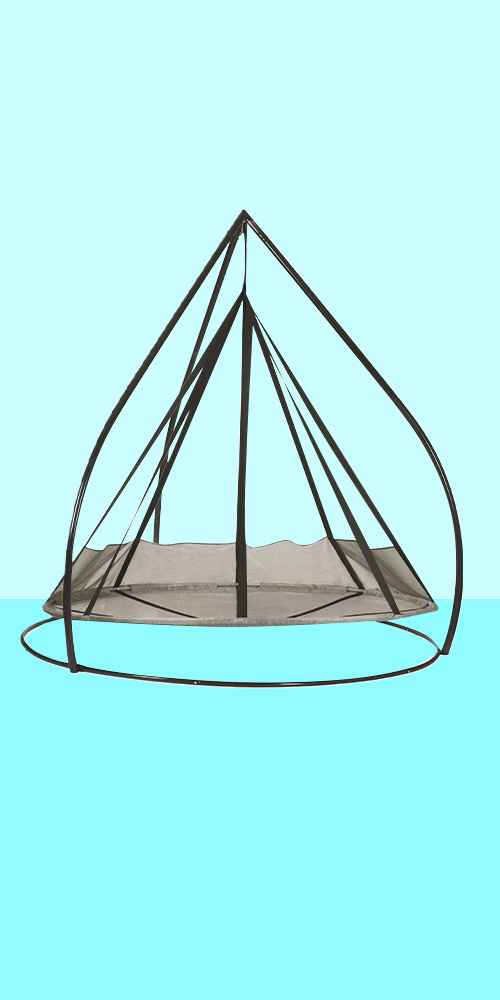 7' Flying Saucer Hanging Patio Hammock with Stand - Silver - FlowerHouse