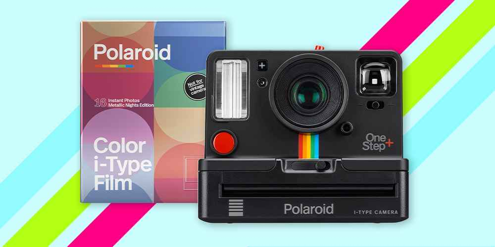 Polaroid OneStep+ Camera (9010) Black, Polaroid Color film for i-Type - Double Pack Metallic Color