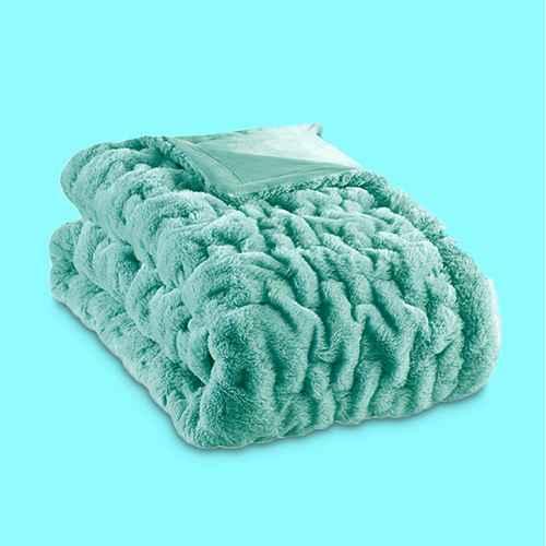 "50""x60"" Ruched Faux Fur Throw Blanket Aqua"