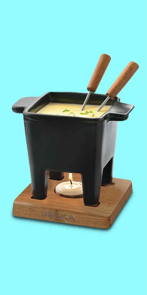Boska Ceramic and Oak Fondue Pot Set