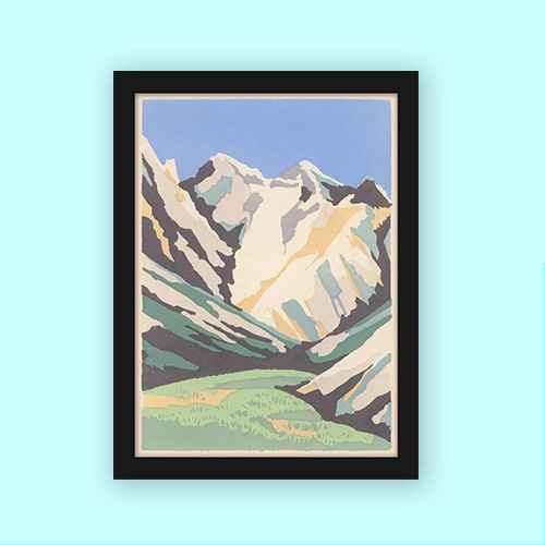 Americanflat Snowcapped Mountains And Green Valley by Found Image Press Black Frame Wall Art