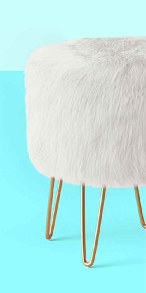 Radovre Hairpin Ottoman Faux Fur White - Project 62™