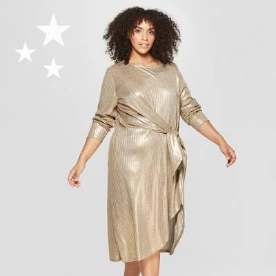 Women's Plus Size Long Sleeve Wrap Tie Knit Dress - Who What Wear™