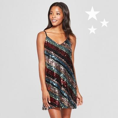 Women's Striped Sequin Dress - Lily Star (Juniors') Black