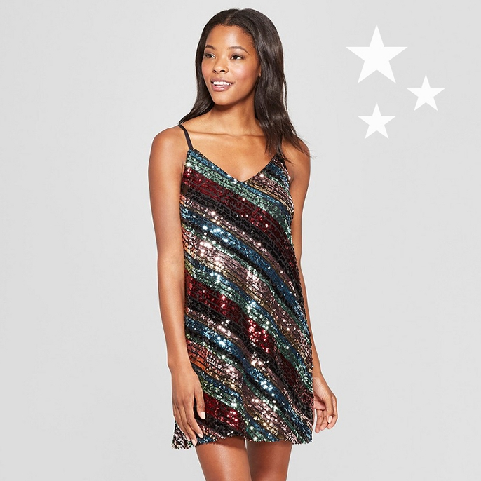 Women's Striped Sequin Dress - Lily Star (Juniors') Black