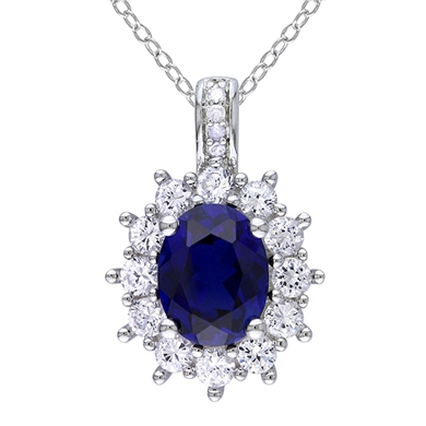 0.02 CT. T.W. Diamond And Sapphire Silver Pendant Necklace - White