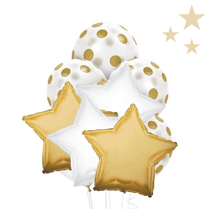 Gold & White Balloon Bouquet
