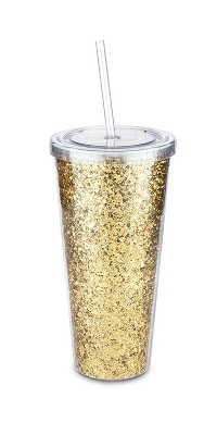 true Glam - Double Walled - Portable Beverage Tumbler - Glitter/Gold