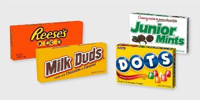 Reese's Pieces Peanut Butter Candies - 4oz, Milk Duds Chocolate and Caramel Candies - 5oz, Junior Mints Candies - 3.5oz, Dots Assorted Fruit Flavored Gumdrops - 7oz