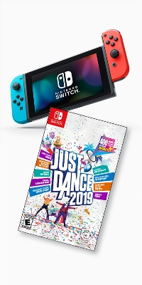 Nintendo Switch with Neon Blue and Neon Red Joy-Con, Just Dance 2019 - Nintendo Switch