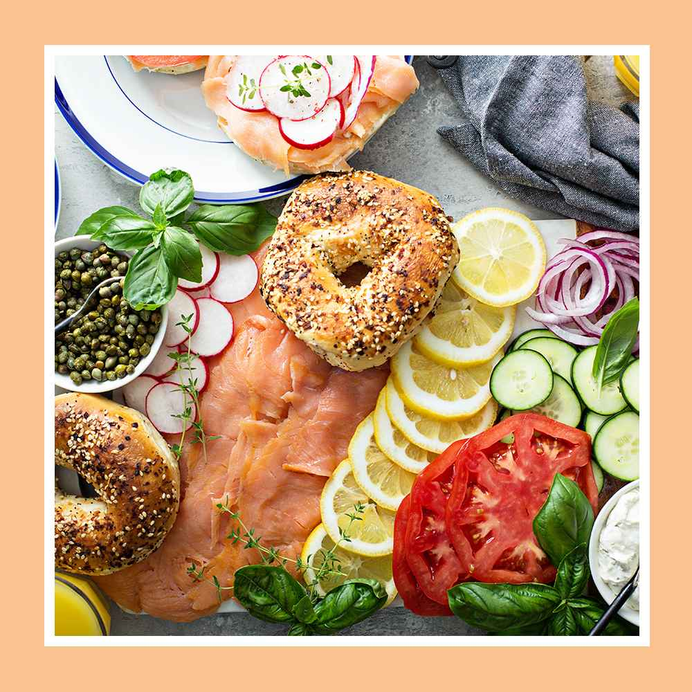 Sliced Plain Bagels - 17.5oz/5ct - Favorite Day™, Sliced Everything Bagels - 17.5oz/5ct - Favorite Day™, Sliced Blueberry Bagels - 17.5oz/5ct - Favorite Day™, Marine Harvest Norwegian Cold Smoked Salmon - 4oz, Non-Pareil Capers - 3.5oz - Good & Gather™, Cucumber - each, Red Onion - each, Lemon - each, Beefsteak Tomatoes - 2pk Package, Organic Basil - 0.5oz - Good & Gather™