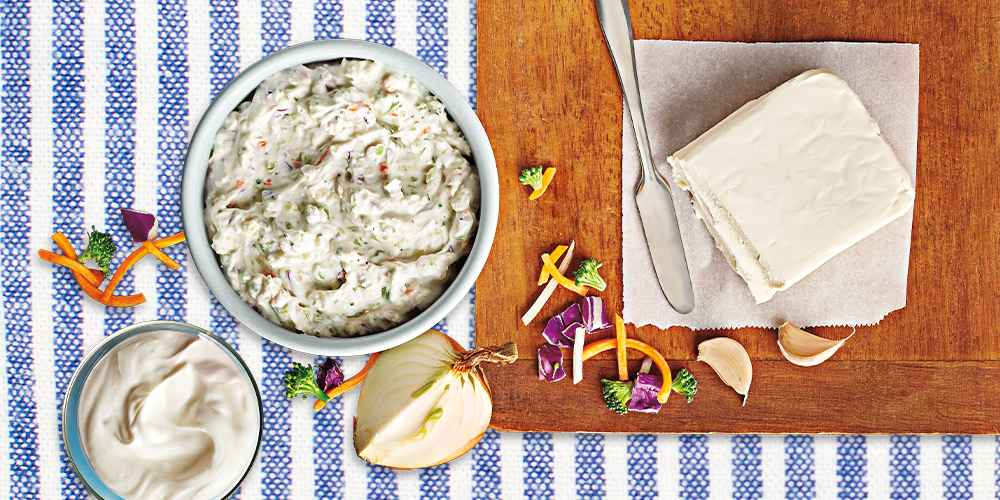Garden Vegetable Cream Cheese Spread - 8oz - Good & Gather™, Plain Cream Cheese Bar - 8oz - Good & Gather™, Yellow Onion - each, Spice World Fresh Whole Garlic - 3ct Bag, 3pc Bamboo Cutting Board Set - Made By Design™