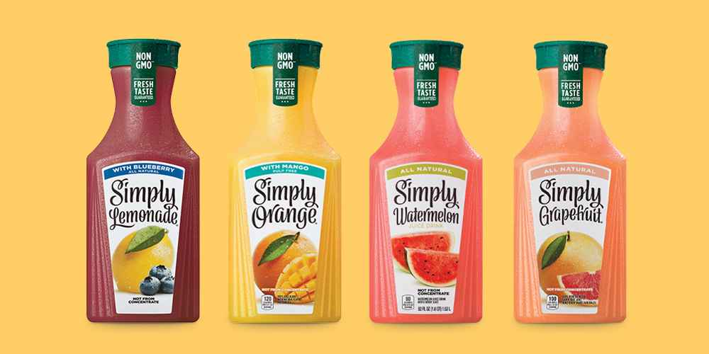 Simply Lemonade with Blueberry Natural Fruit Drink - 52 fl oz, Simply Orange with Mango Juice Blend - 52 fl oz, Simply Watermelon Juice Drink - 52 fl oz, Simply Grapefruit 100% Pure Squeezed Juice - 52 fl oz