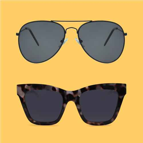 Women's Aviator Polarized Sunglasses - A New Day™ Black, Women's Animal Print Cateye Plastic Silhouette Sunglasses - Wild Fable™ Gray