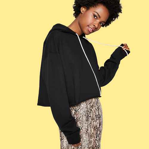 Women's Cropped Hoodie - Wild Fable™ Black XS