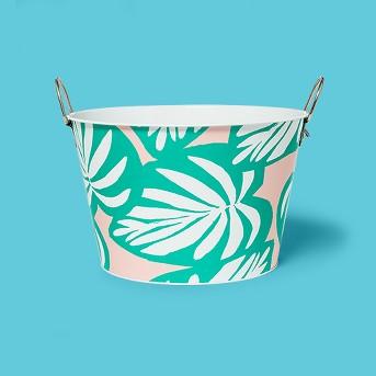 22.8L Metal Palm Leaf Beverage Tub - Sun Squad™
