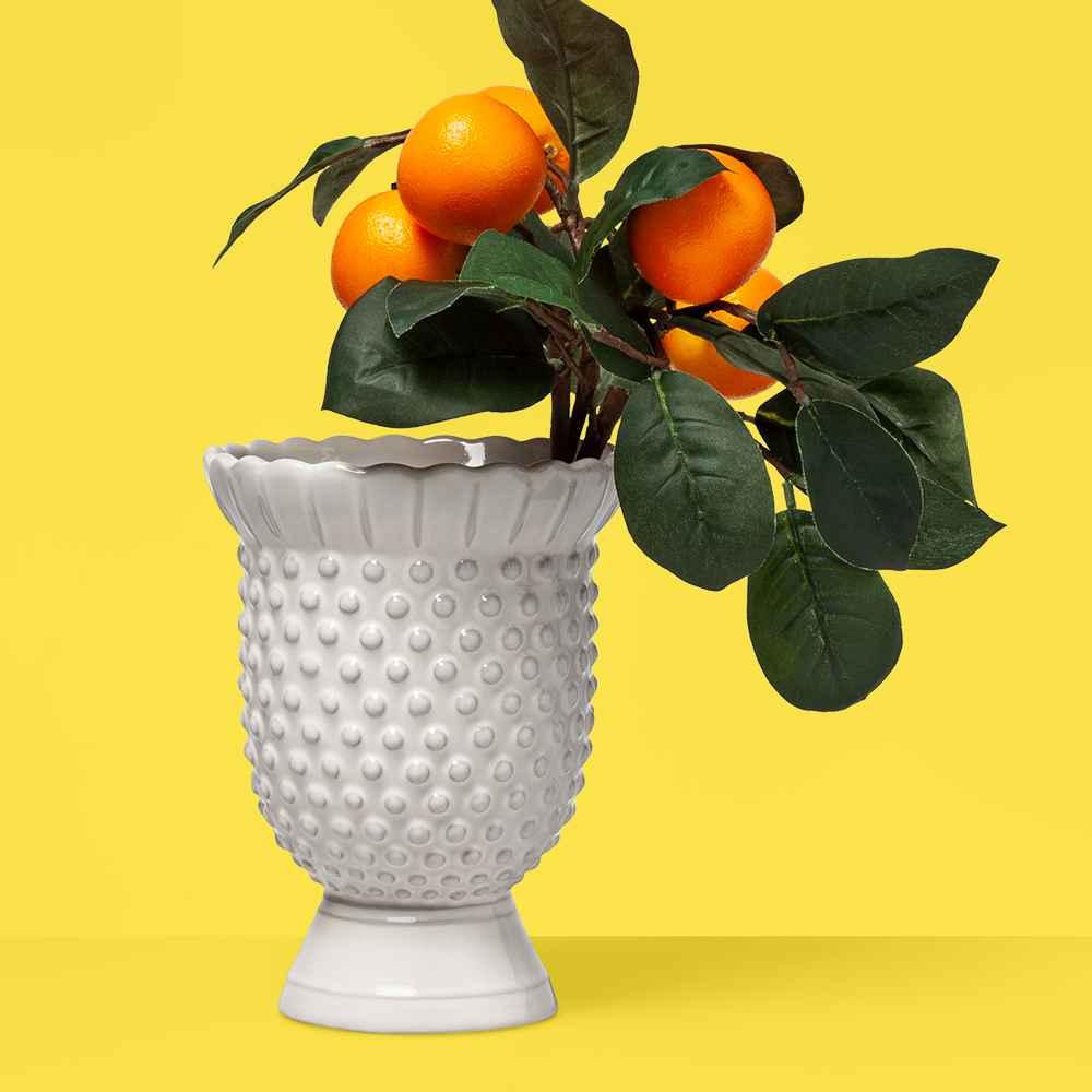 "7"" x 5.3"" Hobnail Terracotta Vase White  - Opalhouse™"