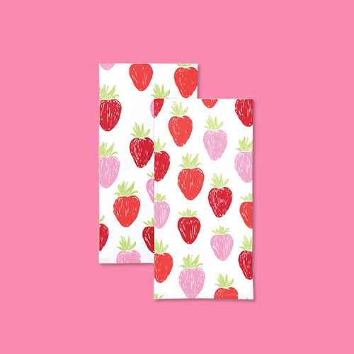 2pk Designer Strawberry Print Towel - MU Kitchen