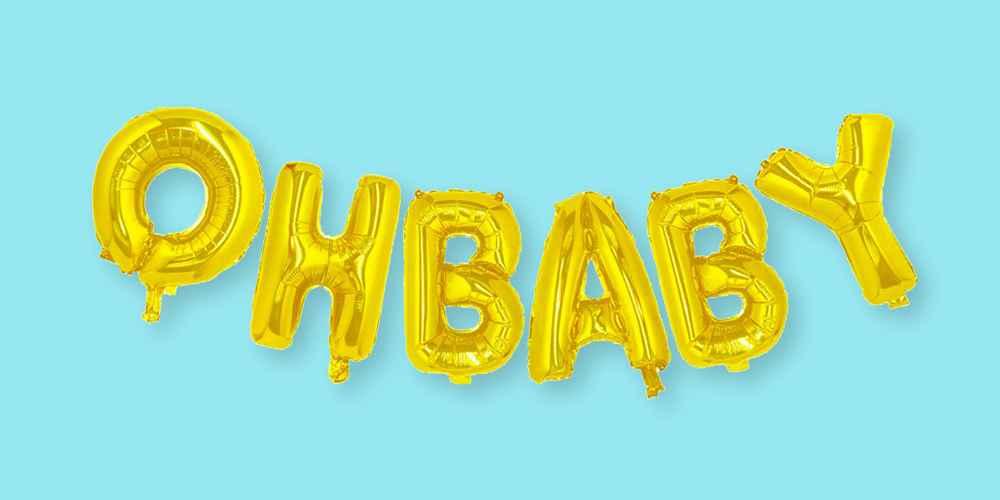 Gold Foil Phrase Balloons Oh Baby - Spritz™