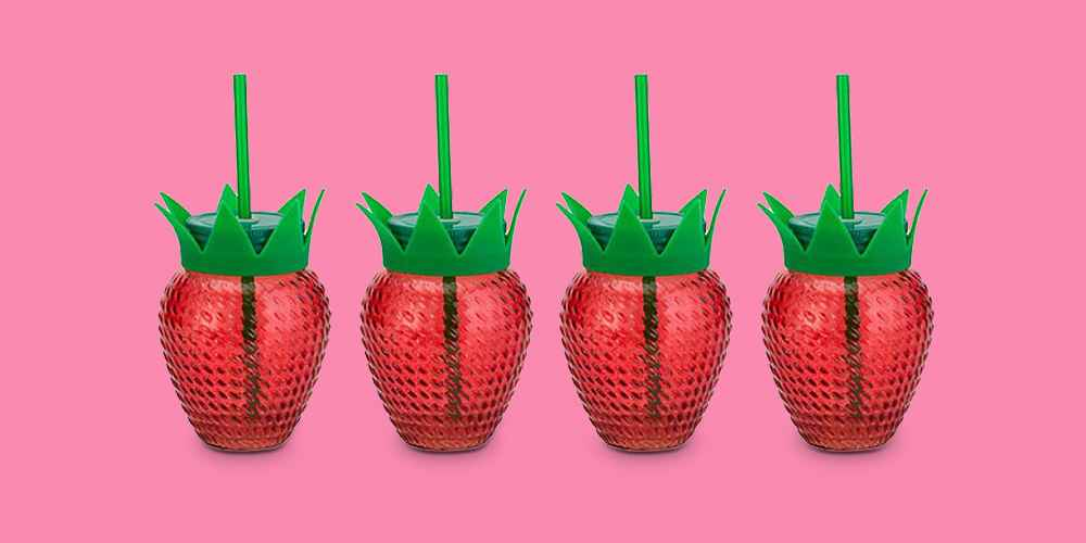 Amici Home Paradise Strawberry Red with Green Lid 18 oz Glass Mason Jars with Reusable Straws, Set of 4