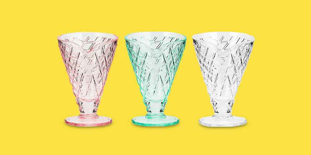 Amici Home Waffle Cone 6 oz Textured Glass Desert Dishes, Assorted Color Set of 3 (Pink/Mint/Clear)